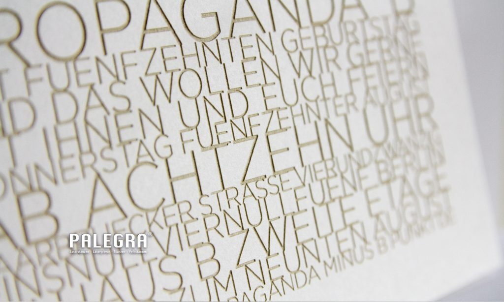 Lasergravur / Papiergravur. Palegra® veredelt Print.